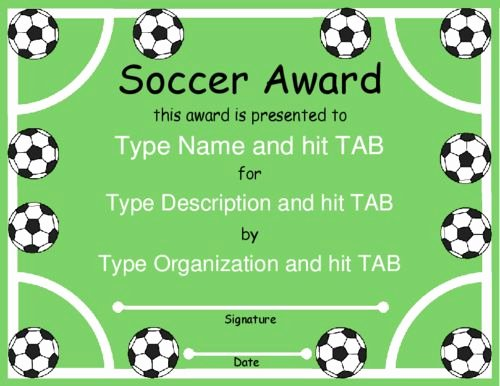 Free Printable soccer Awards Elegant Award Certificate Templates soccer