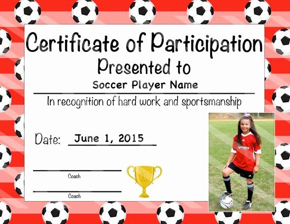 Free Printable soccer Awards Inspirational soccer Certificate Of Participation by