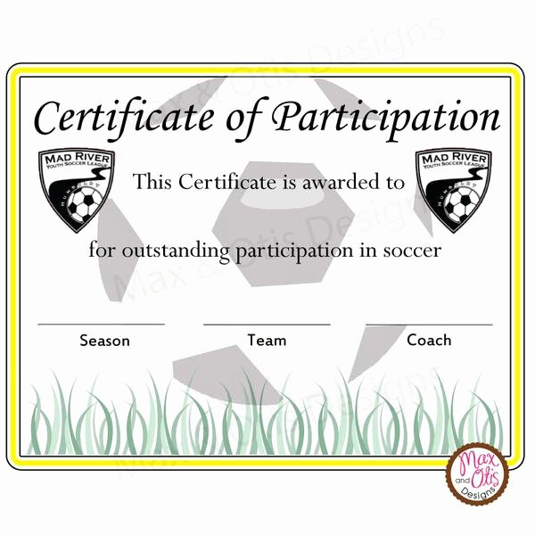 Free Printable soccer Awards Inspirational soccer Certificate Of Participation Editable Pdf – Max