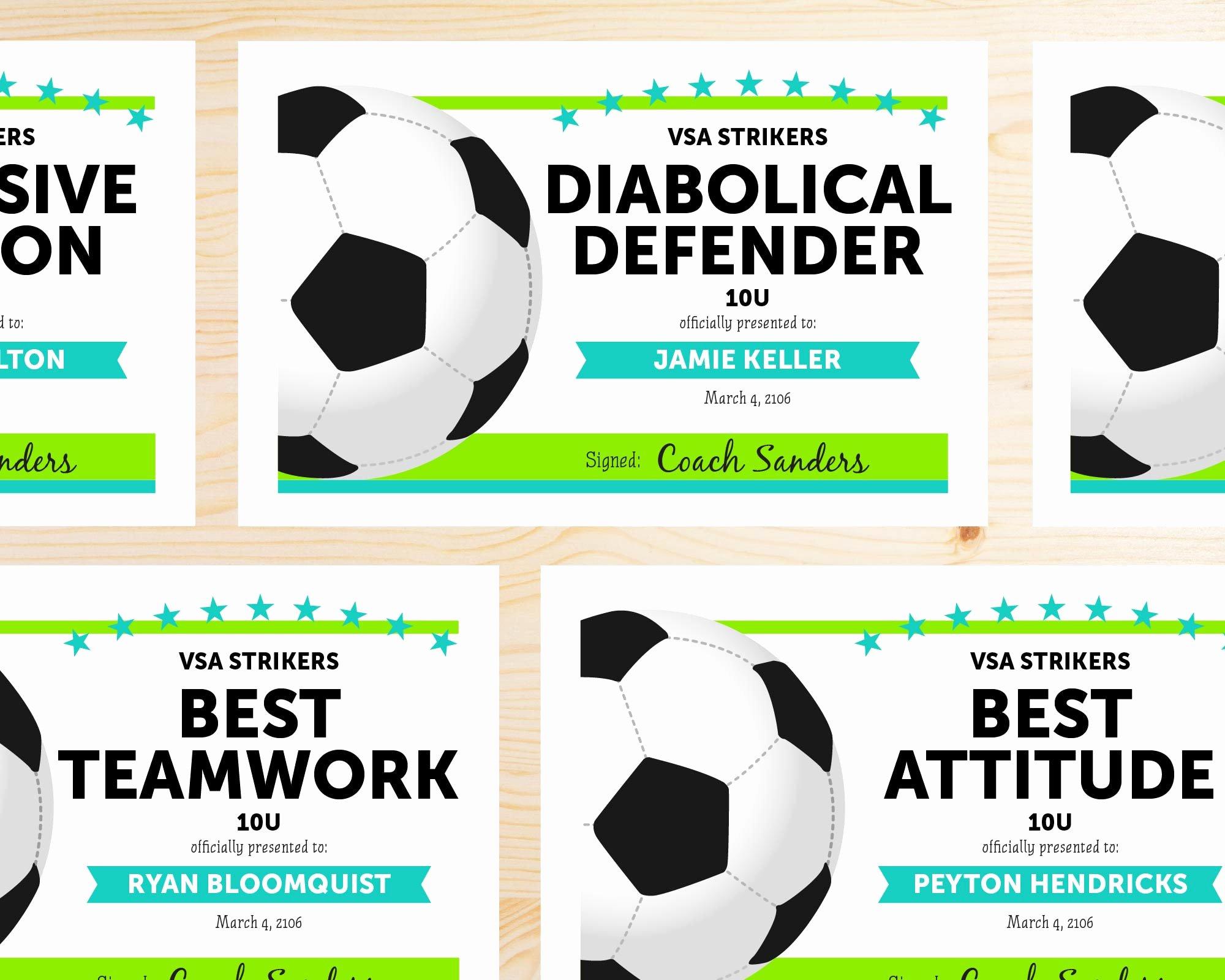 Free Printable soccer Awards Lovely Editable soccer Award Certificates Instant Download
