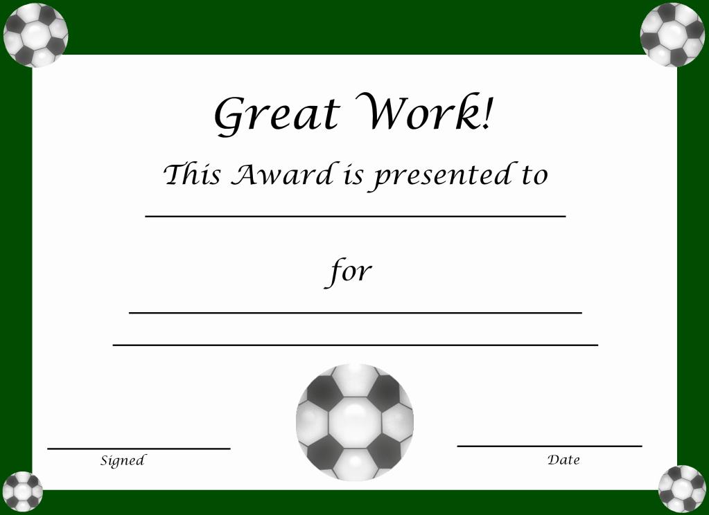 Free Printable soccer Awards Lovely Free Printable Award Certificates for Kids