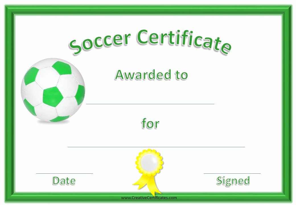 Free Printable soccer Certificates Awesome 13 Free Sample soccer Certificate Templates Printable