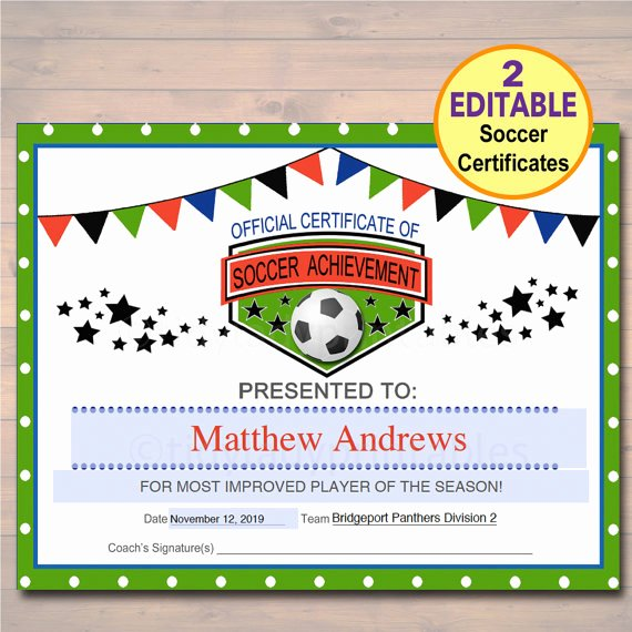 Free Printable soccer Certificates Elegant Editable soccer Award Certificates Instant Download Team
