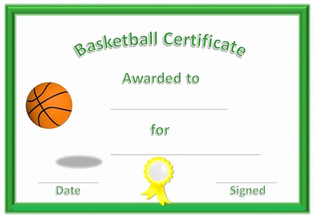 Free Printable softball Certificates Awesome Basketball Award Certificate to Print