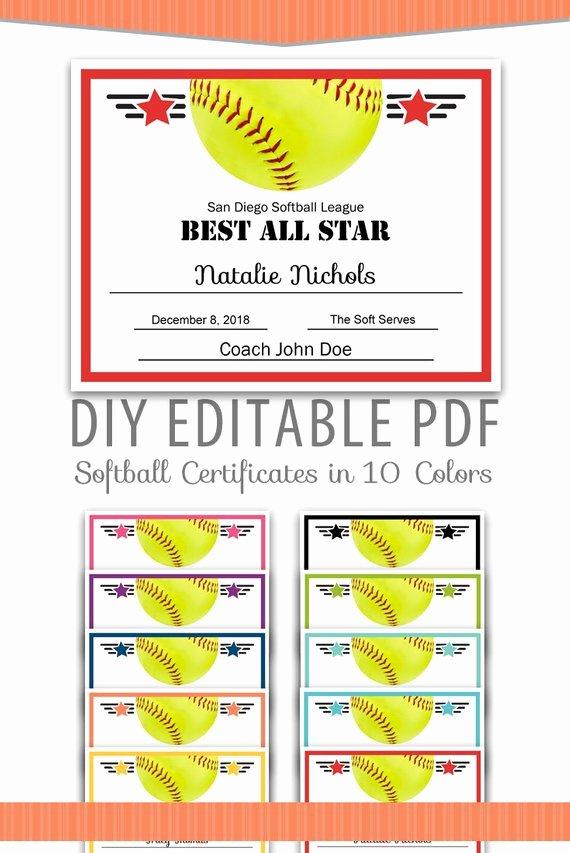 Free Printable softball Certificates Fresh Editable Pdf Sports Team softball Certificate Award