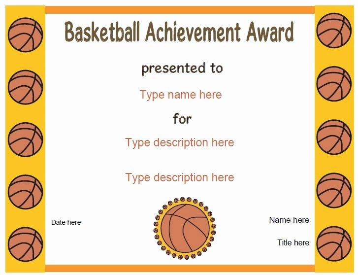 Free Printable softball Certificates Luxury Sports Certificates Basketball Award