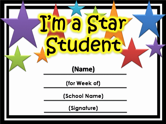 Free Printable Student Of the Month Certificate Templates Elegant Free Star Awards