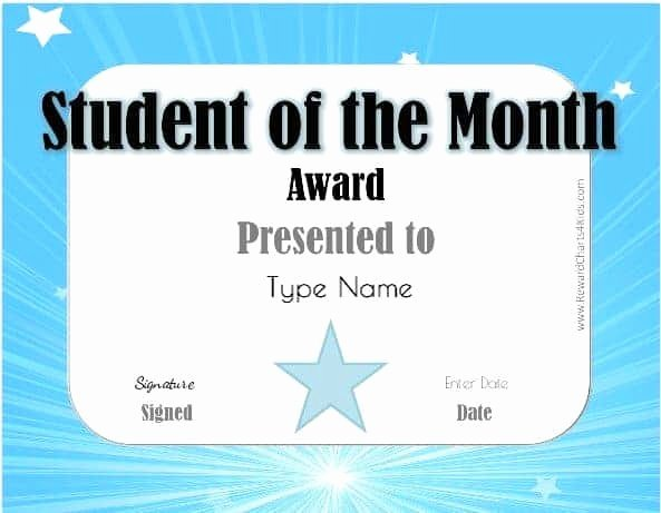Free Printable Student Of the Month Certificate Templates Luxury Free Student Of the Month Certificate