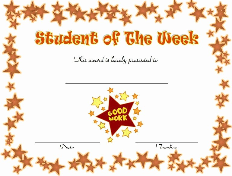 Free Printable Student Of the Month Certificate Templates Unique 10 Student Of the Week Certificate Templates [best Ideas]