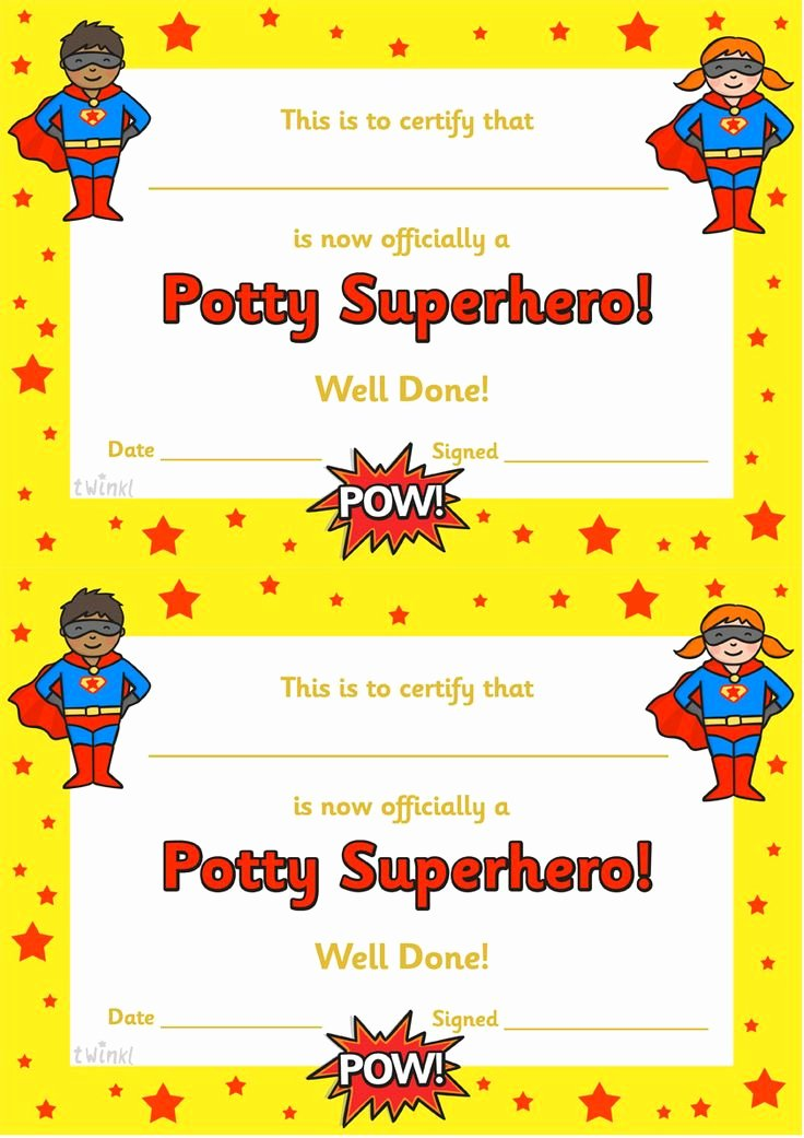 Free Printable Superhero Certificates Awesome Twinkl Resources Potty Superhero Certificate