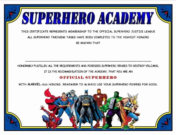 Free Printable Superhero Certificates Beautiful Superhero Academy Certificate Digital File Instant