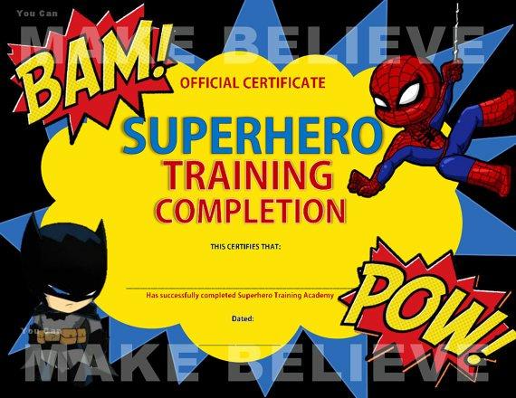 Free Printable Superhero Certificates Beautiful Superhero Party Training Pletion Certificate