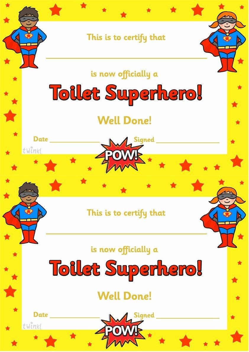 Free Printable Superhero Certificates Best Of Twinkl Resources toilet Superhero Certificate