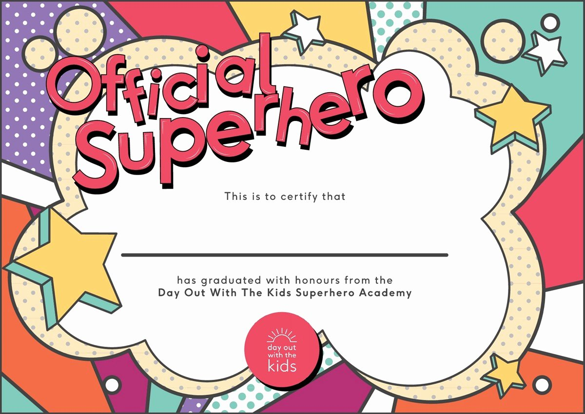 Free Printable Superhero Certificates Elegant Superhero School Challenge