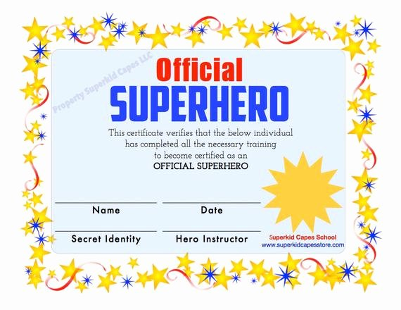 Free Printable Superhero Certificates Fresh Superhero Certificate Instant Printable Download by