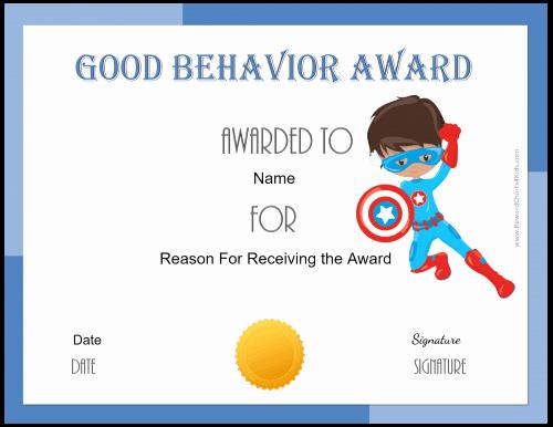 Free Printable Superhero Certificates Inspirational Free Certificate Of Good Behavior