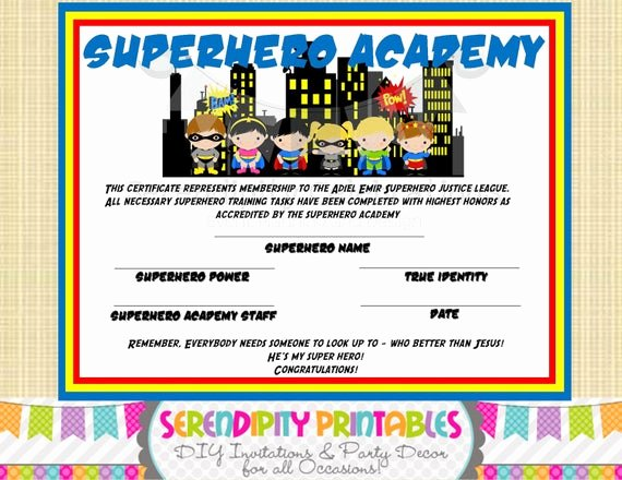 Free Printable Superhero Certificates Inspirational Superhero Kids Collection Superhero Certificate Digital File