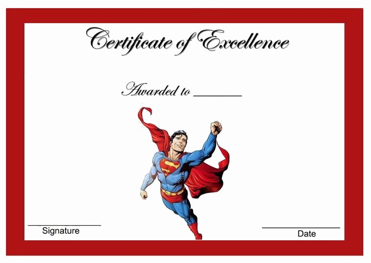 Free Printable Superhero Certificates New Superman themed Award Certificates