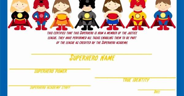 Free Printable Superhero Certificates Unique Superhero Certificate Awarded after Kids Plete