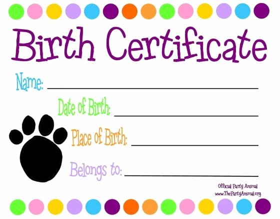 Free Puppy Birth Certificate Template New Pet themed Kids Parties