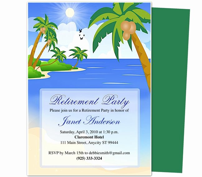 Free Retirement Party Invitation Templates for Word Awesome Retirement Templates Paradise Retirement Party