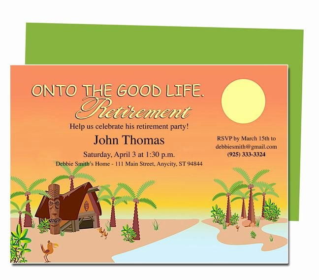 Free Retirement Party Invitation Templates for Word Fresh Retirement Templates Tropicana to the Good Life