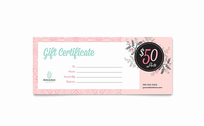 Free Salon Gift Certificate Template Inspirational Massage Gift Certificate Template Word & Publisher