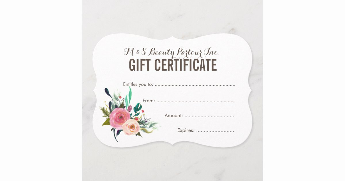 Free Salon Gift Certificate Template Inspirational Painted Floral Salon Gift Certificate Template