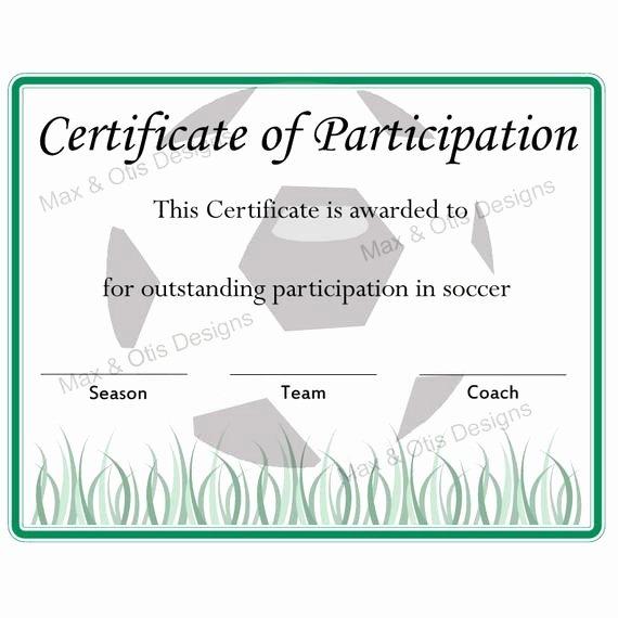 Free soccer Award Certificates Printable Elegant soccer Certificate Of Participation Certificate by Maxandotis