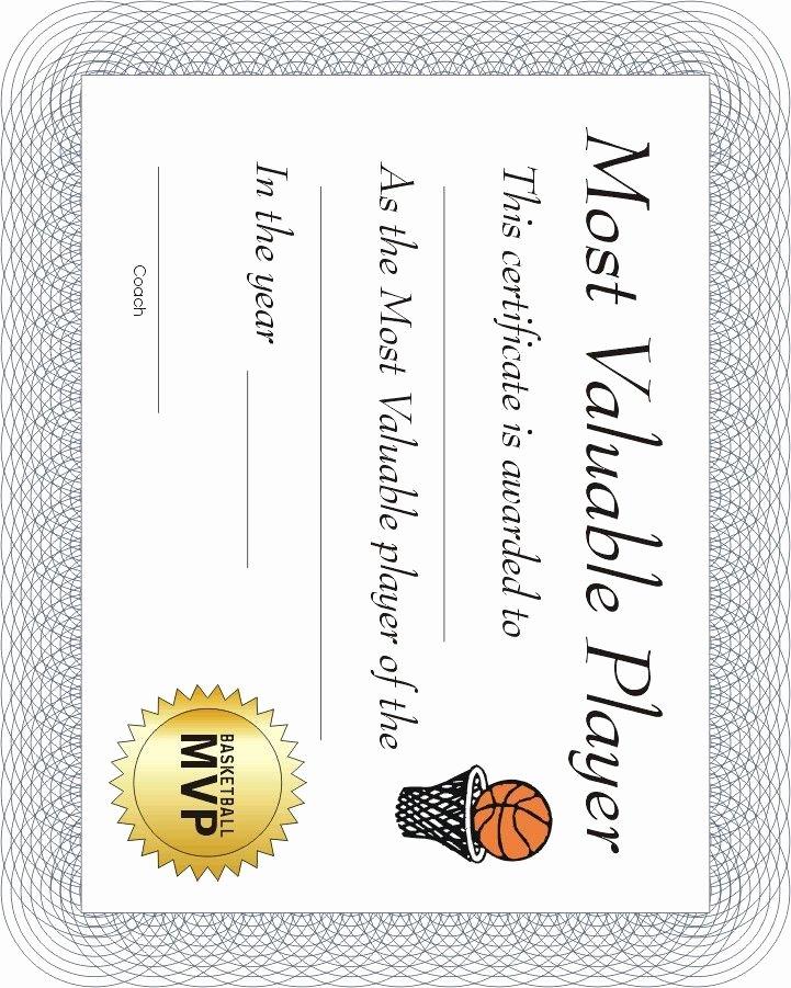 Free soccer Award Certificates Printable Inspirational Free Printable Sports Certificate Basketball Mvp