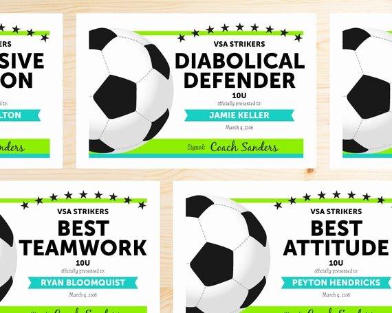 Free soccer Award Certificates Printable Unique Editable soccer Award Certificates Instant Download