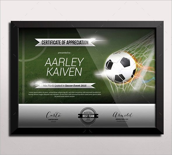 Free soccer Certificate Templates for Word Awesome Free 16 Sample Football Certificate Templates In Pdf