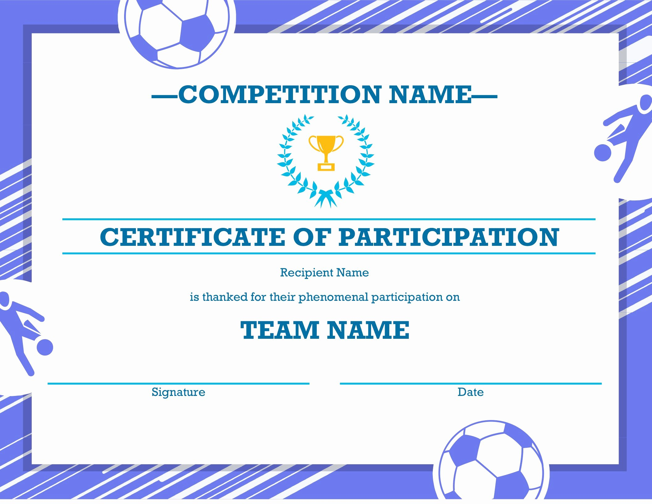 Free soccer Certificate Templates Luxury Four Sports Awards Certificate