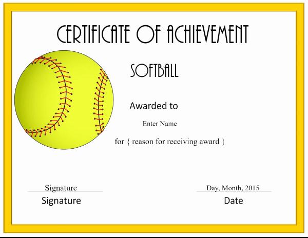 Free softball Certificates to Print Fresh Free softball Certificate Templates Customize Line