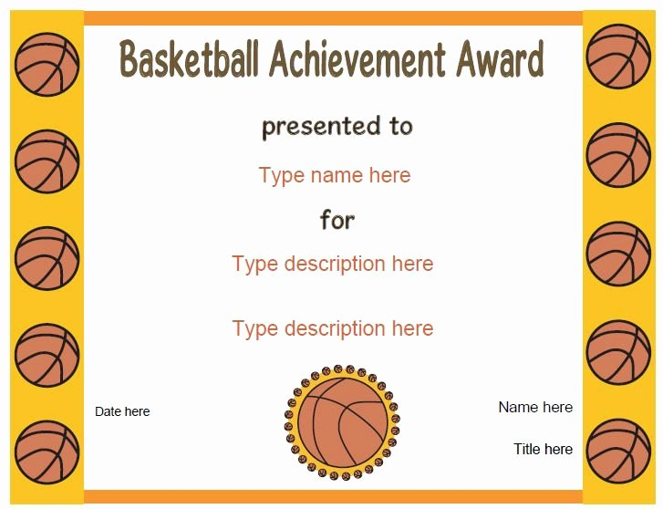 Free softball Certificates to Print Luxury Sports Certificates Basketball Award