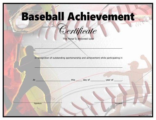 Free softball Certificates to Print New 29 Of Baseball Certificate Achievement Template