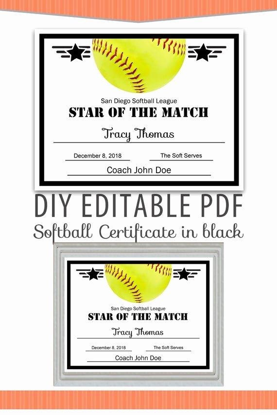 Free softball Certificates to Print Unique Editable Pdf Sports Team softball Certificate Diy Award