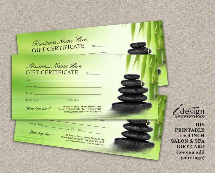 Free Spa Gift Certificate Template Printable Awesome Salon and Spa Gift Certificates