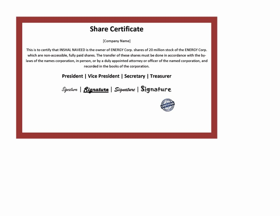 Free Stock Certificate Template Microsoft Word Awesome 40 Free Stock Certificate Templates Word Pdf