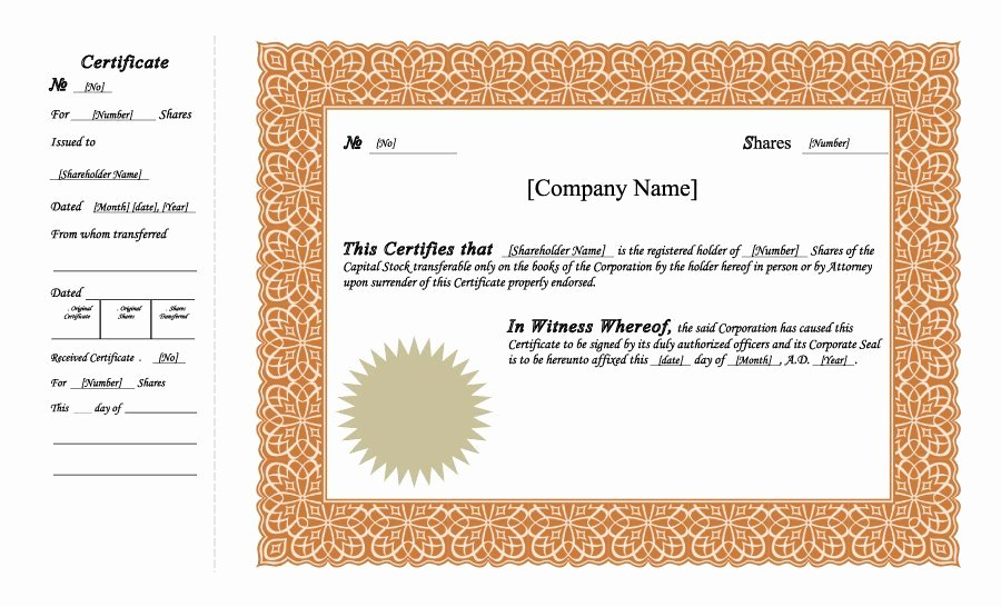 Free Stock Certificate Template Microsoft Word Fresh 40 Free Stock Certificate Templates Word Pdf