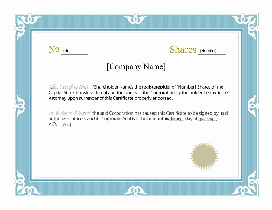 Free Stock Certificate Template Microsoft Word Inspirational 40 Free Stock Certificate Templates Word Pdf