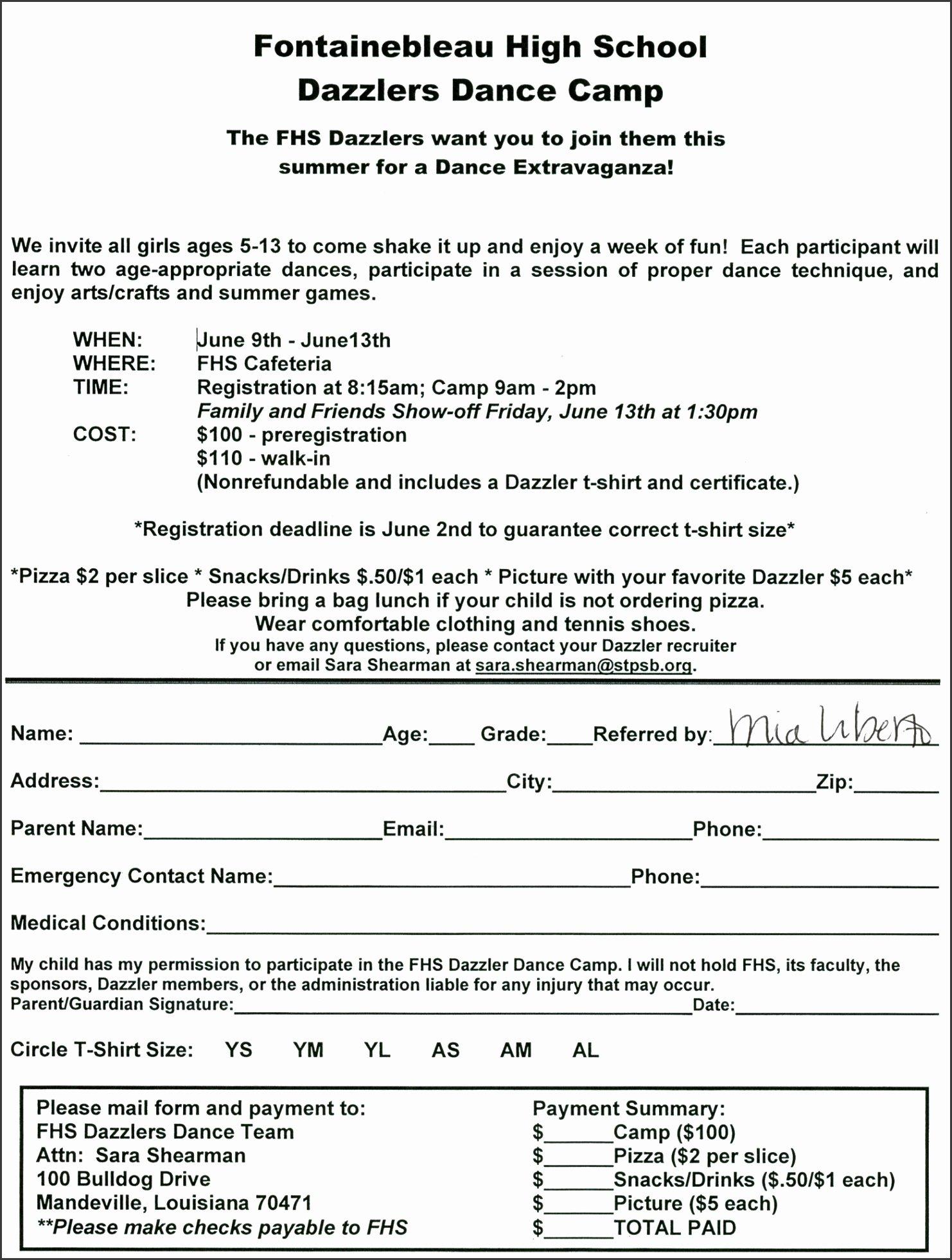 Free Summer Camp Registration form Template Awesome 10 Church Camp Registration form Template