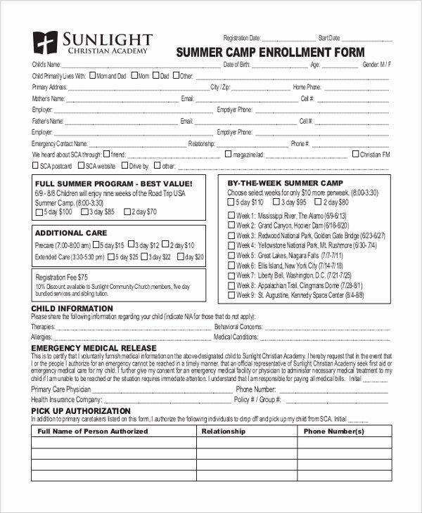 Free Summer Camp Registration form Template Beautiful Free 10 Sample Summer Camp Registration forms