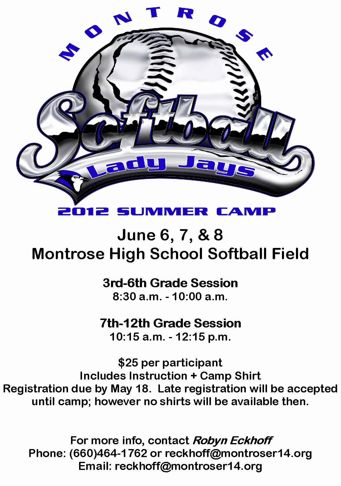 Free Summer Camp Registration form Template Beautiful Montrose R 14 Schools Summer softball Camp Ing In June
