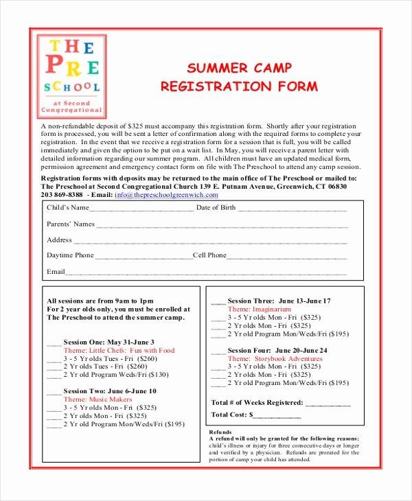 Free Summer Camp Registration form Template Best Of Free 10 Sample Summer Camp Registration forms