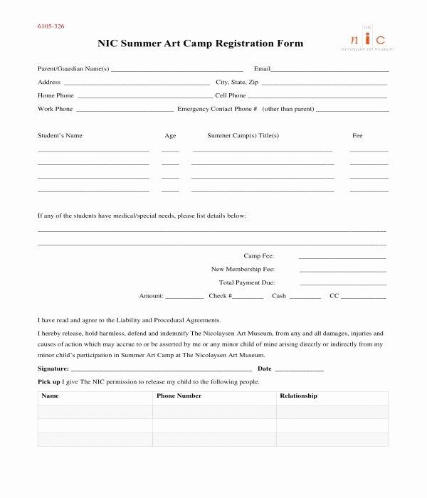 Free Summer Camp Registration form Template Elegant Free 10 Printable Summer Camp Registration forms