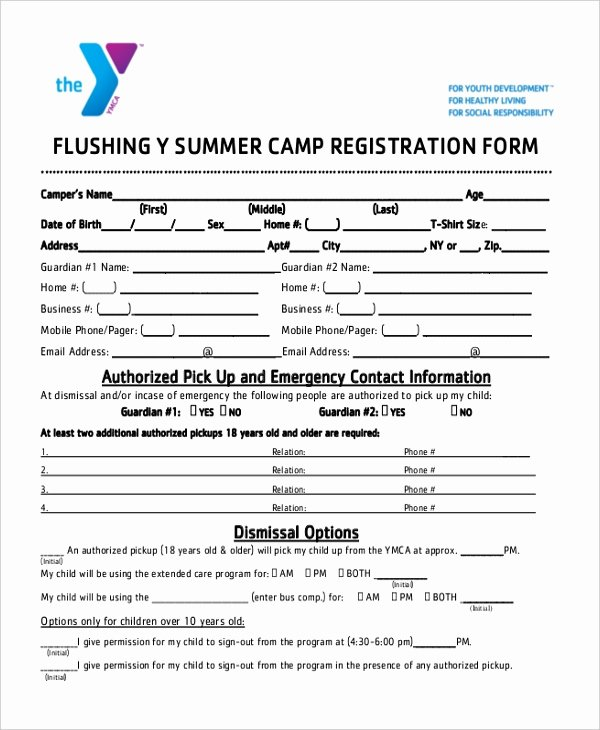 Free Summer Camp Registration form Template Elegant Free 10 Sample Summer Camp Registration forms