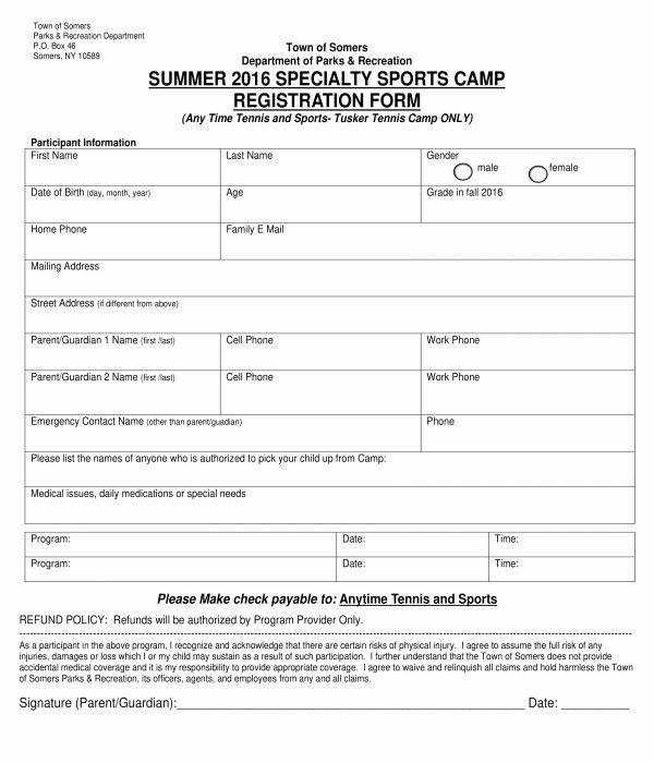 Free Summer Camp Registration form Template Luxury Free 10 Printable Summer Camp Registration forms