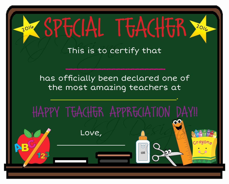 Free Teacher Appreciation Certificates Awesome Teacher Appreciation Certificate Print Teacher T Teacher