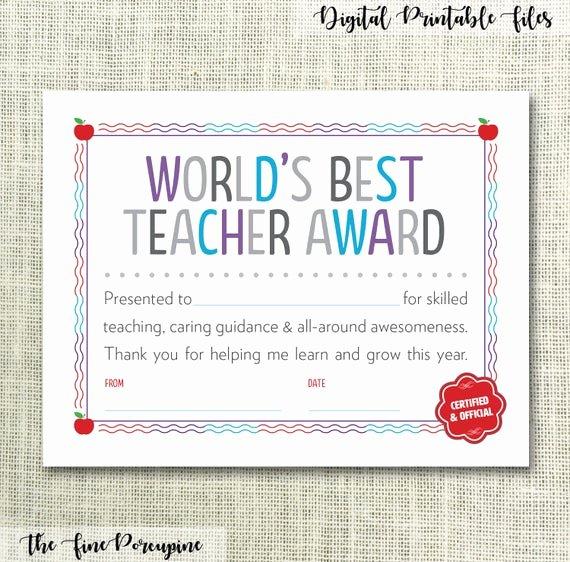 Free Teacher Appreciation Certificates Beautiful Teacher Certificate Teacher Appreciation Gift for Teacher